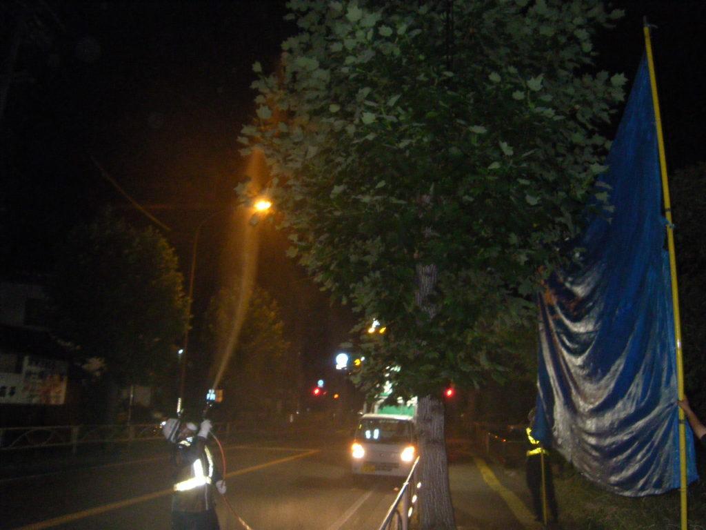 上田地区 夜間の消毒防除